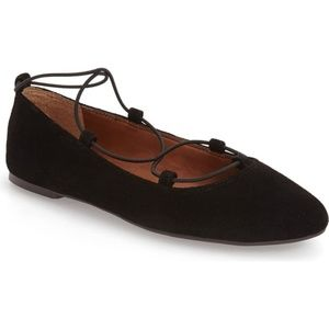 Lucky Brand Aviee Lace-Up Ballet Flats Black Suede